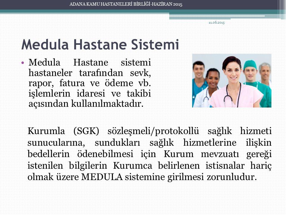 Medula Hastane Sistemi Medula Hastane sistemi hastaneler tarafından sevk, rapor, fatura ve ödeme vb. işlemlerin idaresi ve takibi açısından kullanılma