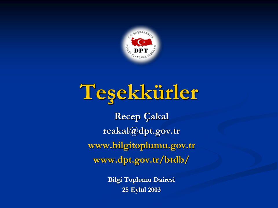Teşekkürler Recep Çakal rcakal@dpt.gov.trwww.bilgitoplumu.gov.trwww.dpt.gov.tr/btdb/ Bilgi Toplumu Dairesi 25 Eylül 2003