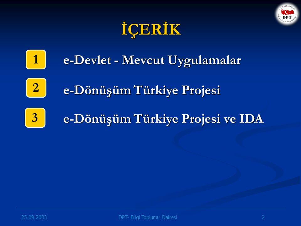 25.09.2003 13DPT- Bilgi Toplumu Dairesi 2003-2004 dönemini kapsamaktadır.