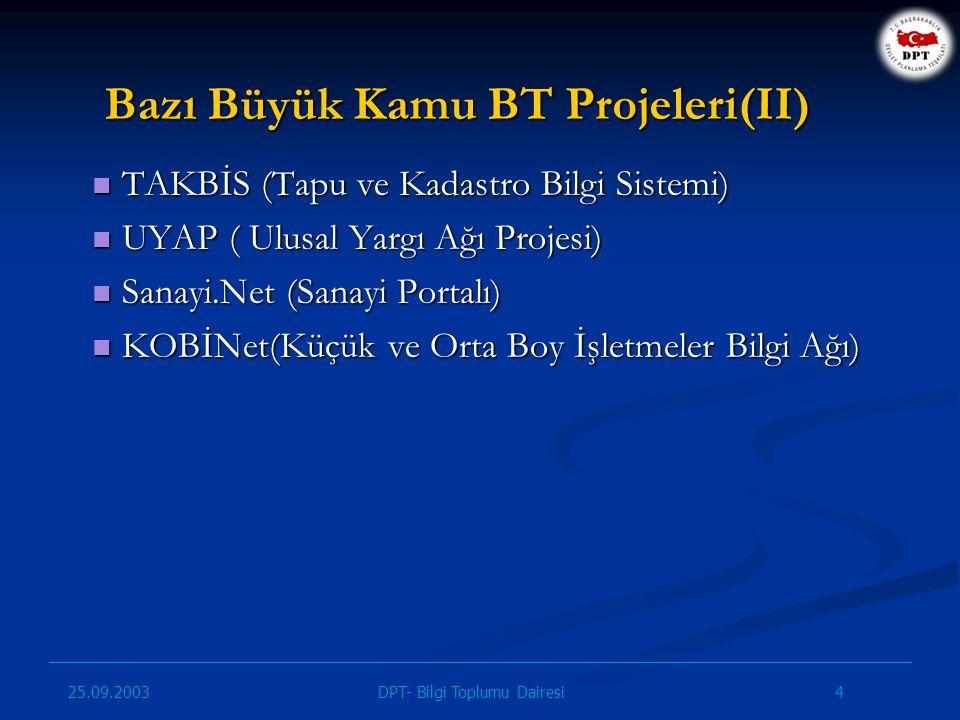 25.09.2003 15DPT- Bilgi Toplumu Dairesi e-Dönüşüm Türkiye Projesi ve IDA IDA ve e-Dönüşüm Türkiye Projesi birçok bakımdan benzer hedeflere odaklanmıştır: - Kamu kurumlarının elektronik ortamlarda birlikte çalışabilirliği için gerekli tedbirlerin alınması, - e-Eğitim, e-Sağlık ve e-Ticaret başta olmak üzere sektörel ağların yaygınlaştırılması, - Yaratılacak faydanın vatandaşlara ve iş alemine yaygınlaştırılması, - En iyi örnek ve uygulamaların kamu birimleri arasında paylaşımı...