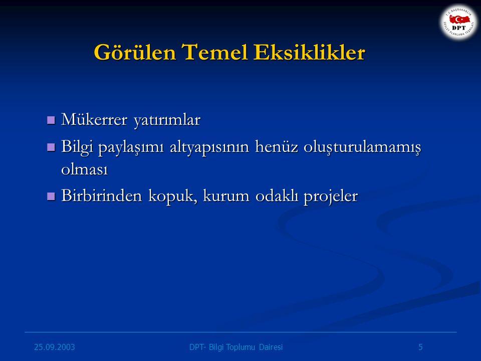 25.09.2003 5DPT- Bilgi Toplumu Dairesi Görülen Temel Eksiklikler Mükerrer yatırımlar Mükerrer yatırımlar Bilgi paylaşımı altyapısının henüz oluşturula