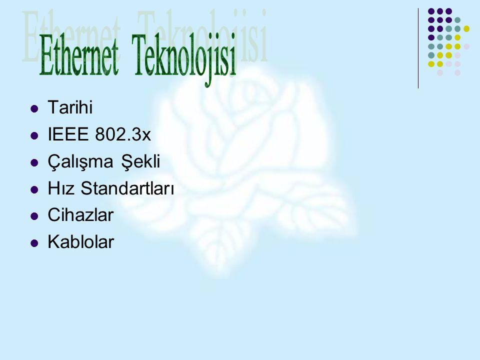 Tarihi IEEE 802.3x Çalışma Şekli Hız Standartları Cihazlar Kablolar