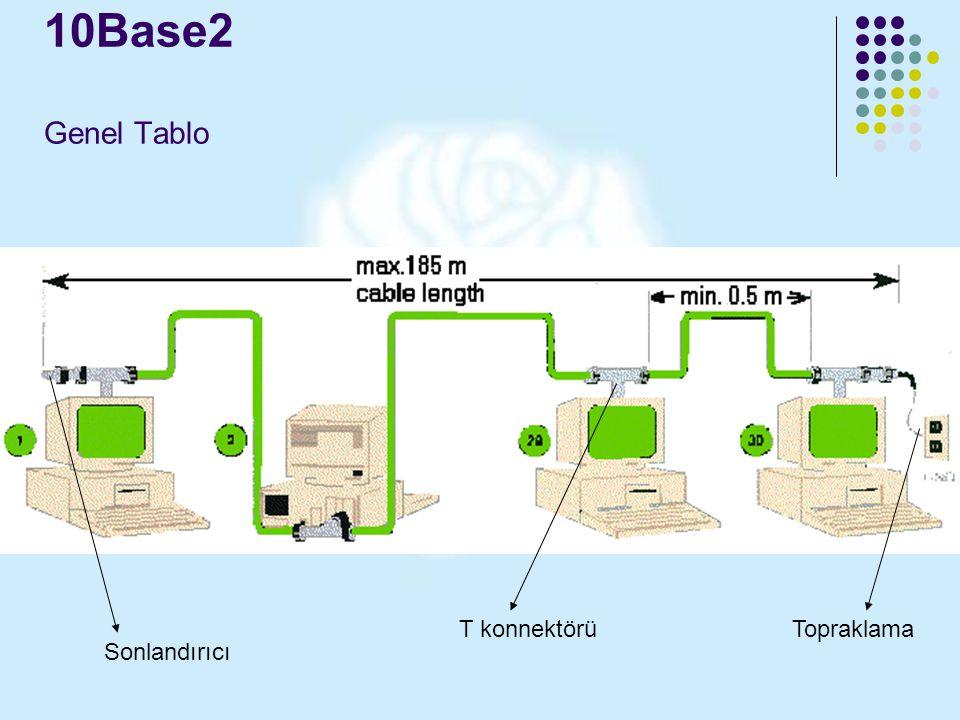 10Base2 Genel Tablo Sonlandırıcı T konnektörüTopraklama