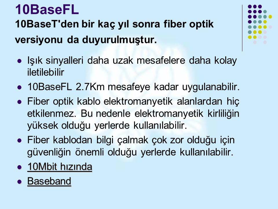 10BaseFL 10BaseT'den bir kaç yıl sonra fiber optik versiyonu da duyurulmuştur. Işık sinyalleri daha uzak mesafelere daha kolay iletilebilir 10BaseFL 2