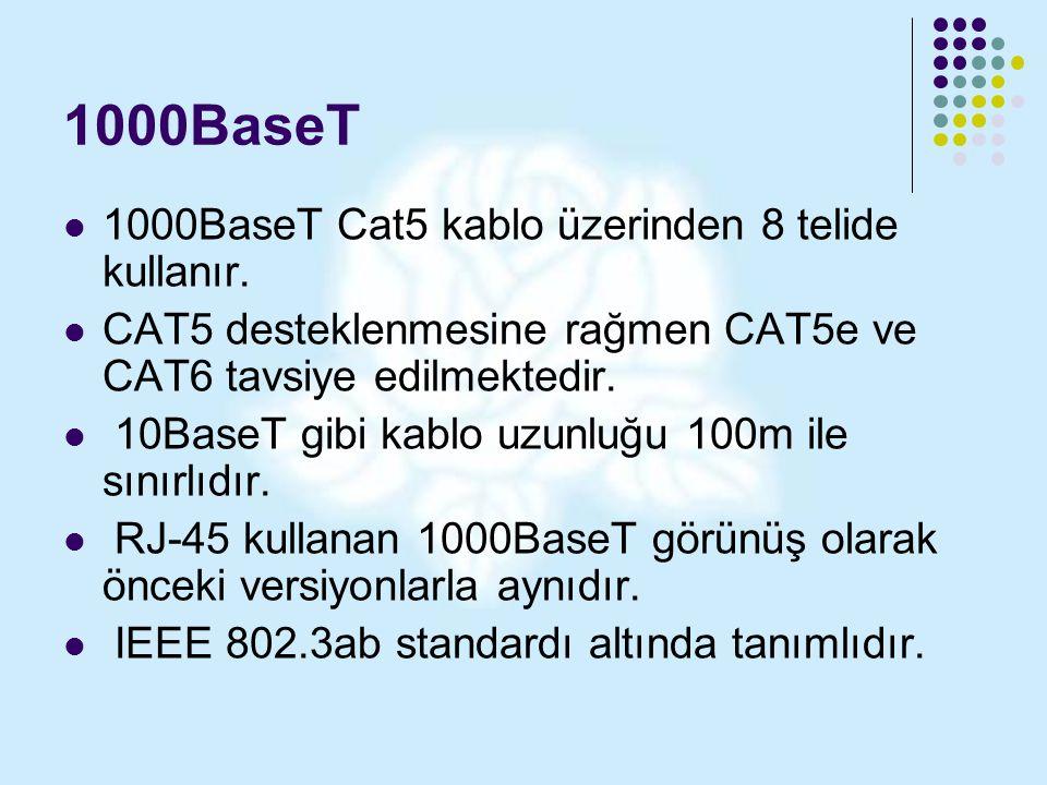1000BaseT 1000BaseT Cat5 kablo üzerinden 8 telide kullanır. CAT5 desteklenmesine rağmen CAT5e ve CAT6 tavsiye edilmektedir. 10BaseT gibi kablo uzunluğ