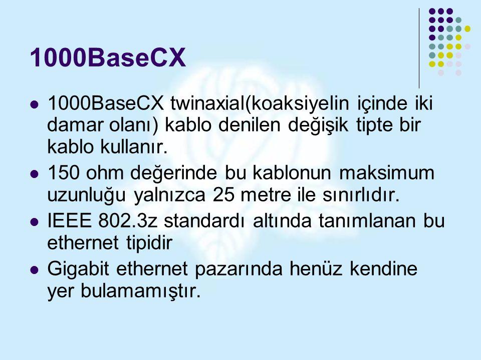1000BaseCX 1000BaseCX twinaxial(koaksiyelin içinde iki damar olanı) kablo denilen değişik tipte bir kablo kullanır. 150 ohm değerinde bu kablonun maks