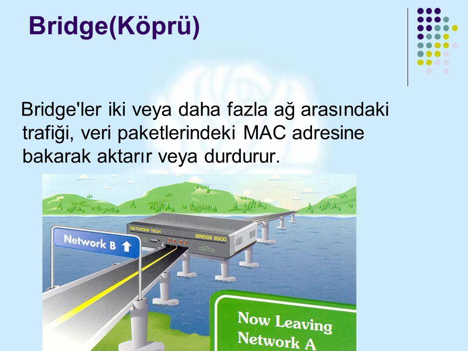 Bridge(Köprü) Bridge'ler iki veya daha fazla ağ arasındaki trafiği, veri paketlerindeki MAC adresine bakarak aktarır veya durdurur.