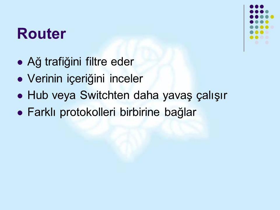 Router Ağ trafiğini filtre eder Verinin içeriğini inceler Hub veya Switchten daha yavaş çalışır Farklı protokolleri birbirine bağlar