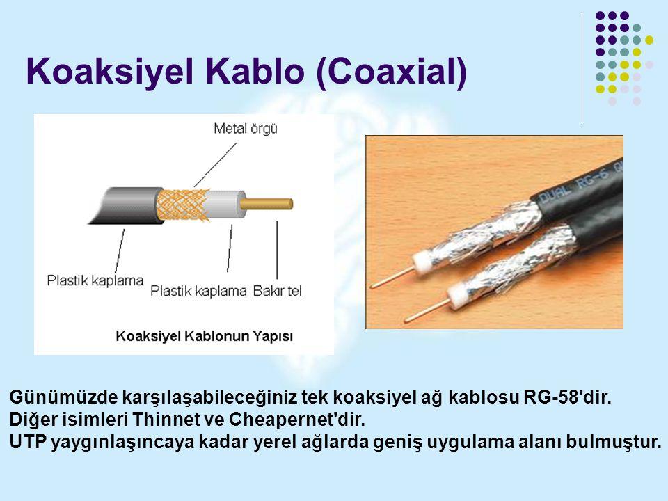 Koaksiyel Kablo (Coaxial) Günümüzde karşılaşabileceğiniz tek koaksiyel ağ kablosu RG-58'dir. Diğer isimleri Thinnet ve Cheapernet'dir. UTP yaygınlaşın