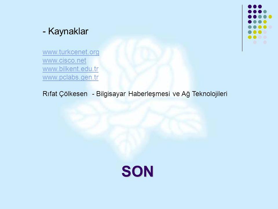 SON - Kaynaklar www.turkcenet.org www.cisco.net www.bilkent.edu.tr www.pclabs.gen.tr Rıfat Çölkesen - Bilgisayar Haberleşmesi ve Ağ Teknolojileri