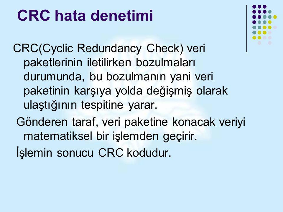 CRC hata denetimi CRC(Cyclic Redundancy Check) veri paketlerinin iletilirken bozulmaları durumunda, bu bozulmanın yani veri paketinin karşıya yolda de