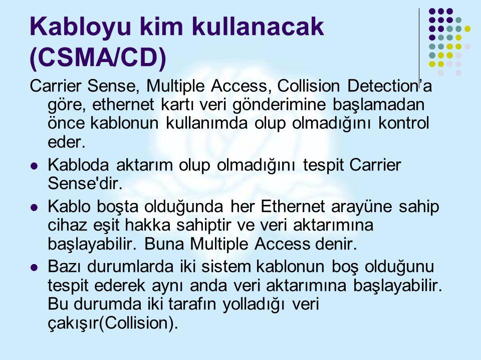 Kabloyu kim kullanacak (CSMA/CD) Carrier Sense, Multiple Access, Collision Detection'a göre, ethernet kartı veri gönderimine başlamadan önce kablonun