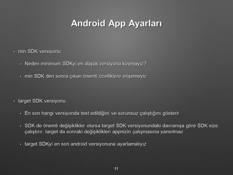 Android App Ayarları min SDK versiyonu min SDK versiyonu Neden minimum SDKyi en düşük versiyona koymayız? Neden minimum SDKyi en düşük versiyona koyma