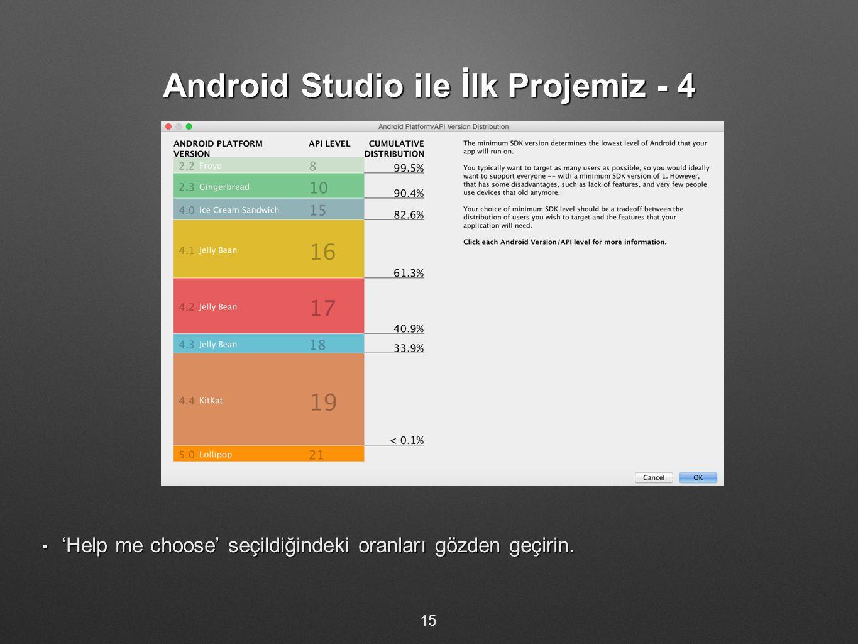 Android Studio ile İlk Projemiz - 4 'Help me choose' seçildiğindeki oranları gözden geçirin. 'Help me choose' seçildiğindeki oranları gözden geçirin.