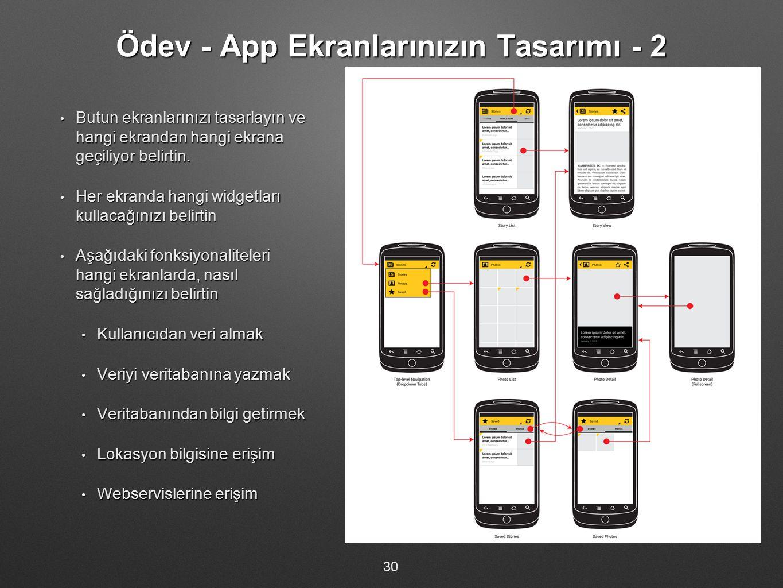 Ödev - App Ekranlarınızın Tasarımı - 2 Butun ekranlarınızı tasarlayın ve hangi ekrandan hangi ekrana geçiliyor belirtin. Butun ekranlarınızı tasarlayı