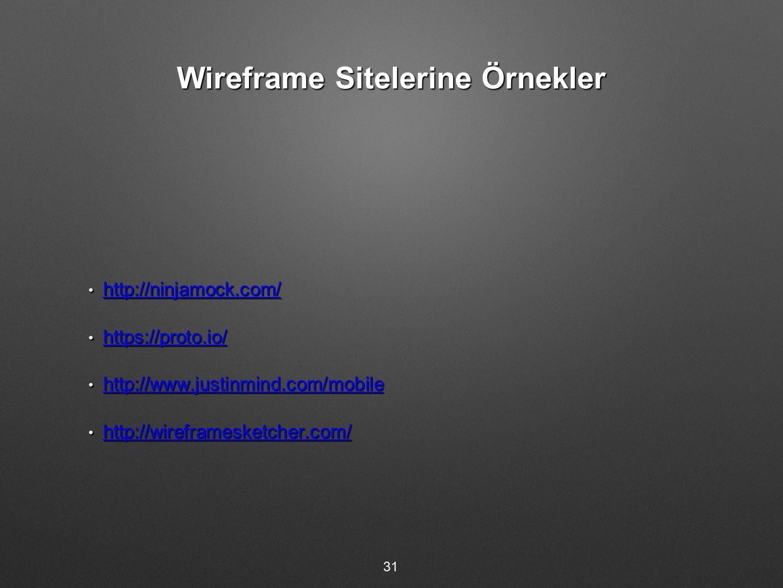Wireframe Sitelerine Örnekler http://ninjamock.com/ http://ninjamock.com/ http://ninjamock.com/ https://proto.io/ https://proto.io/ https://proto.io/