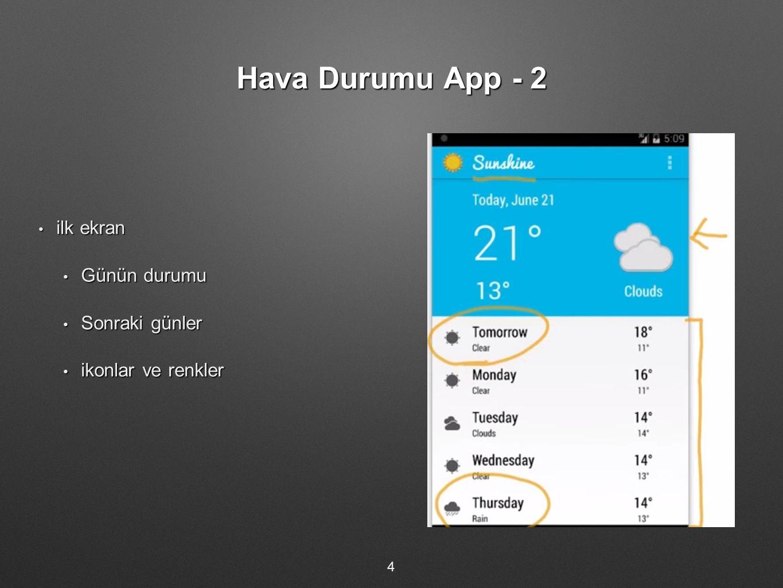 Hava Durumu App - 2 ilk ekran ilk ekran Günün durumu Günün durumu Sonraki günler Sonraki günler ikonlar ve renkler ikonlar ve renkler 4