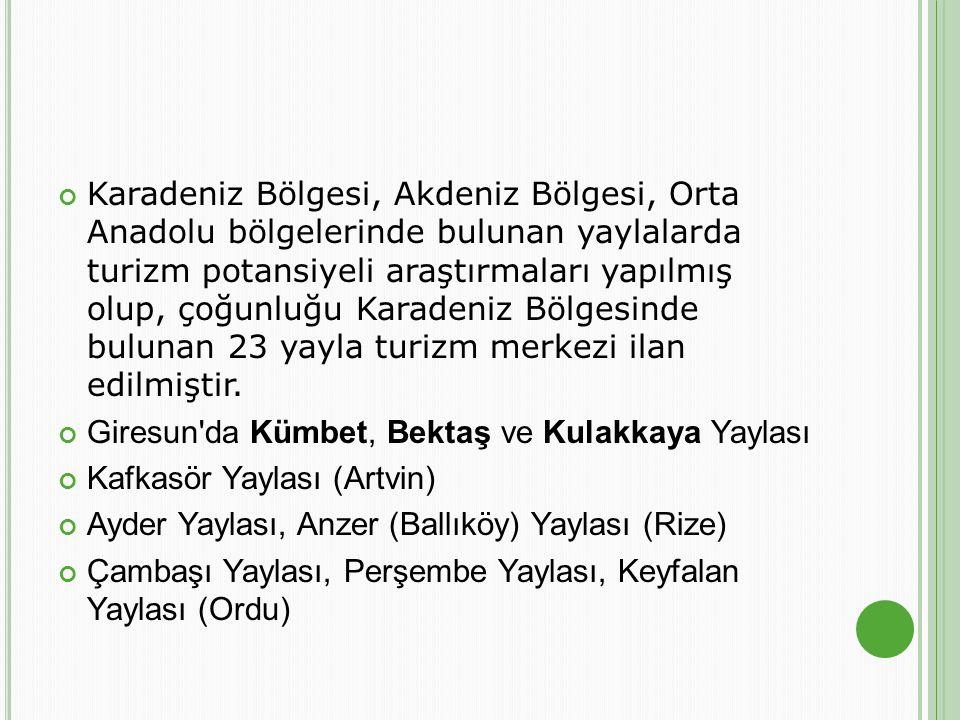 Karadeniz Bölgesi, Akdeniz Bölgesi, Orta Anadolu bölgelerinde bulunan yaylalarda turizm potansiyeli araştırmaları yapılmış olup, çoğunluğu Karadeniz B