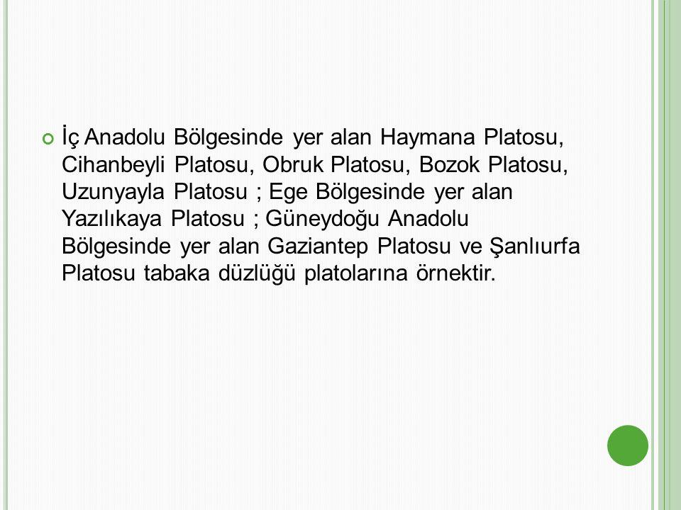 İç Anadolu Bölgesinde yer alan Haymana Platosu, Cihanbeyli Platosu, Obruk Platosu, Bozok Platosu, Uzunyayla Platosu ; Ege Bölgesinde yer alan Yazılıka