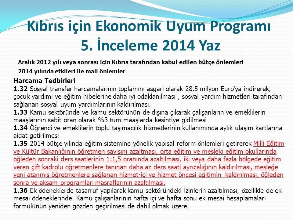 Kıbrıs için Ekonomik Uyum Programı 5. İnceleme 2014 Yaz Aralık 2012 yılı veya sonrası için Kıbrıs tarafından kabul edilen bütçe önlemleri 2014 yılında