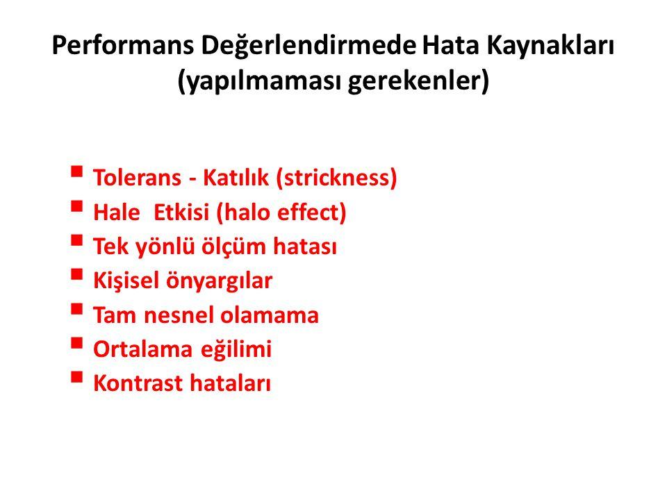 Performans Değerlendirmede Hata Kaynakları (yapılmaması gerekenler)  Tolerans - Katılık (strickness)  Hale Etkisi (halo effect)  Tek yönlü ölçüm ha