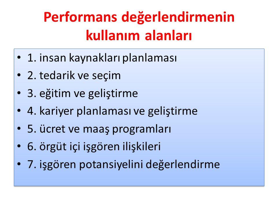 Performans değerlendirmenin kullanım alanları 1. insan kaynakları planlaması 2. tedarik ve seçim 3. eğitim ve geliştirme 4. kariyer planlaması ve geli