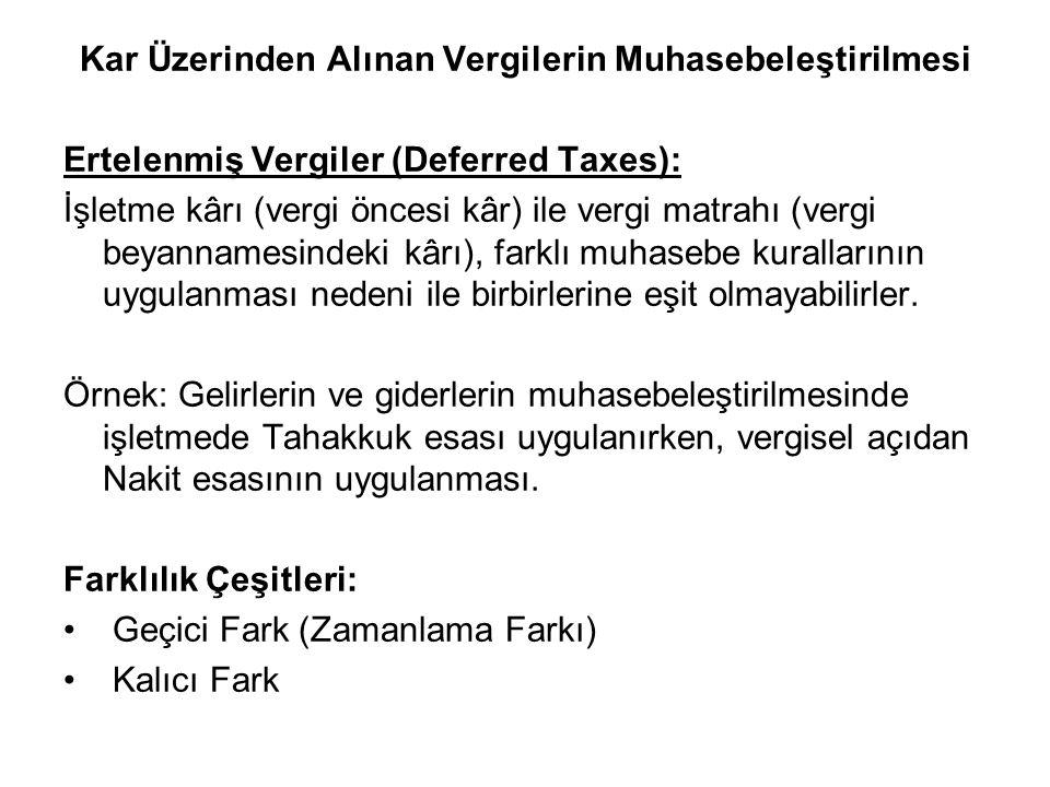 Kar Üzerinden Alınan Vergilerin Muhasebeleştirilmesi Ertelenmiş Vergiler (Deferred Taxes): İşletme kârı (vergi öncesi kâr) ile vergi matrahı (vergi be