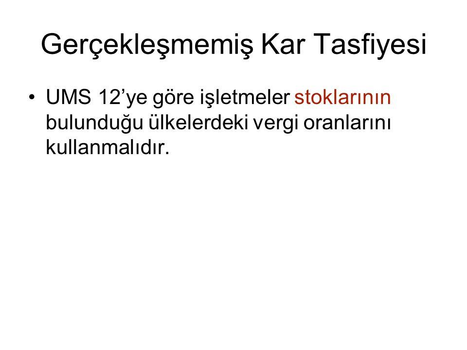 Gerçekleşmemiş Kar Tasfiyesi UMS 12'ye göre işletmeler stoklarının bulunduğu ülkelerdeki vergi oranlarını kullanmalıdır.