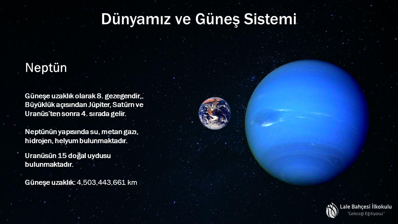 Dünyamız ve Güneş Sistemi Neptün Güneşe uzaklık olarak 8. gezegendir,. Büyüklük açısından Jüpiter, Satürn ve Uranüs'ten sonra 4. sırada gelir. Neptünü
