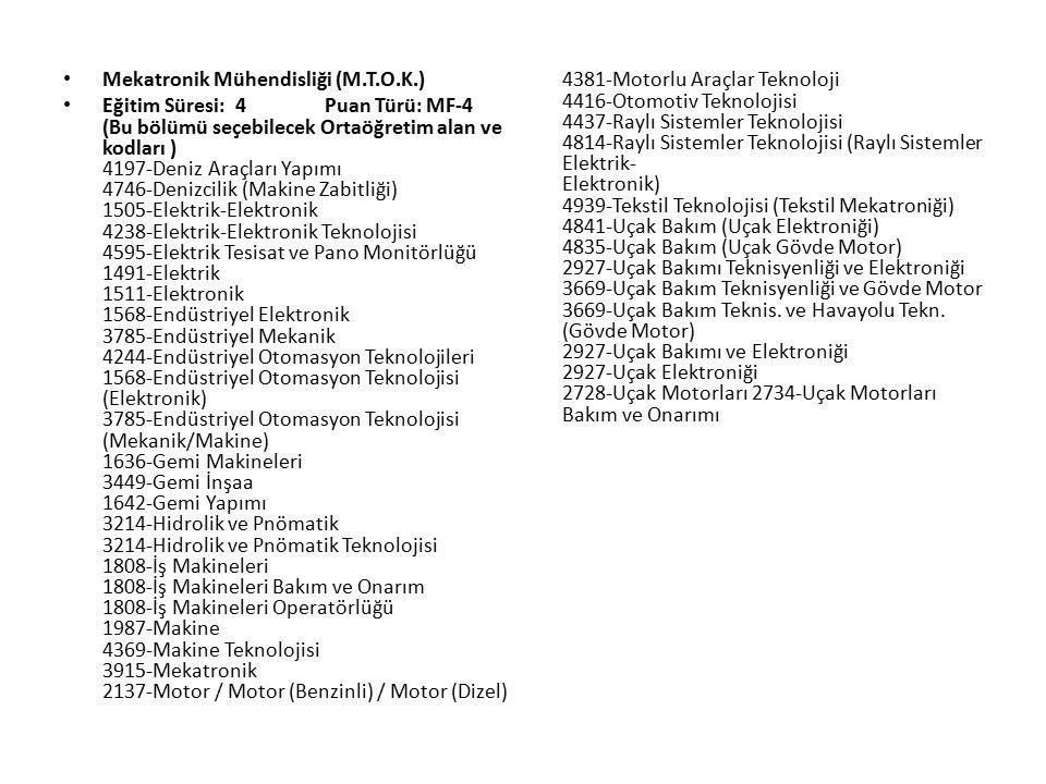 Mekatronik Mühendisliği (M.T.O.K.) Eğitim Süresi: 4 Puan Türü: MF-4 (Bu bölümü seçebilecek Ortaöğretim alan ve kodları ) 4197-Deniz Araçları Yapımı 4746-Denizcilik (Makine Zabitliği) 1505-Elektrik-Elektronik 4238-Elektrik-Elektronik Teknolojisi 4595-Elektrik Tesisat ve Pano Monitörlüğü 1491-Elektrik 1511-Elektronik 1568-Endüstriyel Elektronik 3785-Endüstriyel Mekanik 4244-Endüstriyel Otomasyon Teknolojileri 1568-Endüstriyel Otomasyon Teknolojisi (Elektronik) 3785-Endüstriyel Otomasyon Teknolojisi (Mekanik/Makine) 1636-Gemi Makineleri 3449-Gemi İnşaa 1642-Gemi Yapımı 3214-Hidrolik ve Pnömatik 3214-Hidrolik ve Pnömatik Teknolojisi 1808-İş Makineleri 1808-İş Makineleri Bakım ve Onarım 1808-İş Makineleri Operatörlüğü 1987-Makine 4369-Makine Teknolojisi 3915-Mekatronik 2137-Motor / Motor (Benzinli) / Motor (Dizel) 4381-Motorlu Araçlar Teknoloji 4416-Otomotiv Teknolojisi 4437-Raylı Sistemler Teknolojisi 4814-Raylı Sistemler Teknolojisi (Raylı Sistemler Elektrik- Elektronik) 4939-Tekstil Teknolojisi (Tekstil Mekatroniği) 4841-Uçak Bakım (Uçak Elektroniği) 4835-Uçak Bakım (Uçak Gövde Motor) 2927-Uçak Bakımı Teknisyenliği ve Elektroniği 3669-Uçak Bakım Teknisyenliği ve Gövde Motor 3669-Uçak Bakım Teknis.