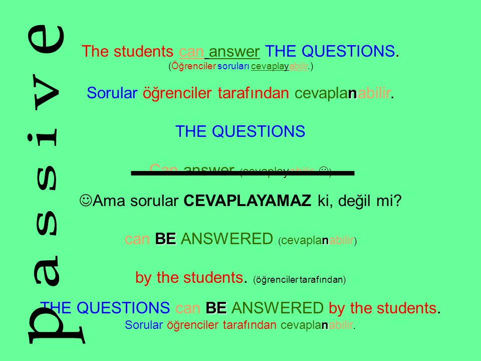 The students can answer THE QUESTIONS.
