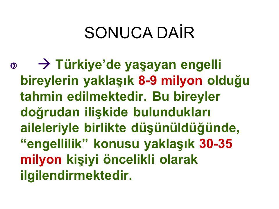 SONUCA DAİR   Türkiye'de yaşayan engelli bireylerin yaklaşık 8-9 milyon olduğu tahmin edilmektedir. Bu bireyler doğrudan ilişkide bulundukları ailel