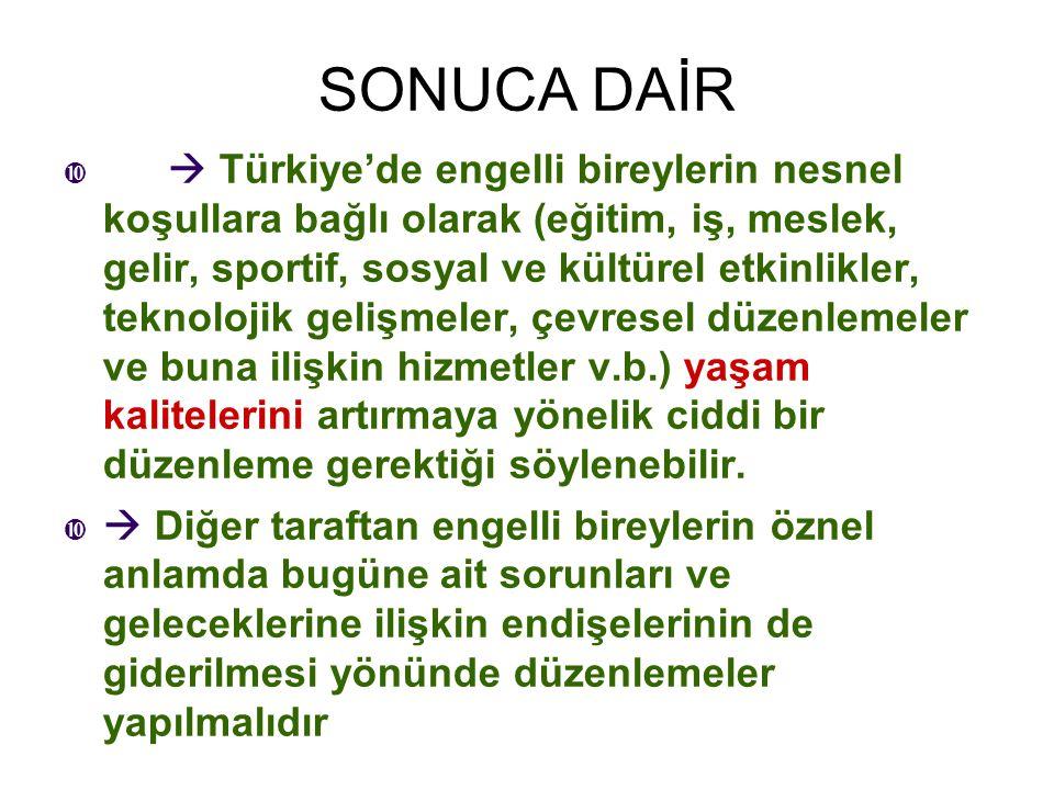 SONUCA DAİR   Türkiye'de engelli bireylerin nesnel koşullara bağlı olarak (eğitim, iş, meslek, gelir, sportif, sosyal ve kültürel etkinlikler, tekno