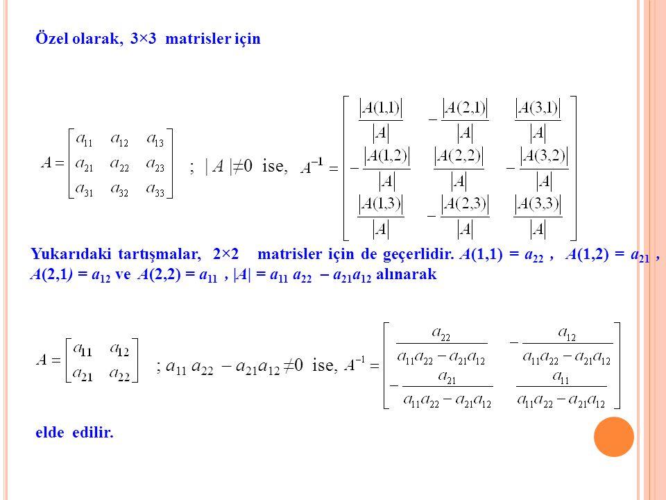 Özel olarak, 3×3 matrisler için ; | A |≠0 ise, Yukarıdaki tartışmalar, 2×2 matrisler için de geçerlidir. A(1,1) = a 22, A(1,2) = a 21, A(2,1) = a 12 v