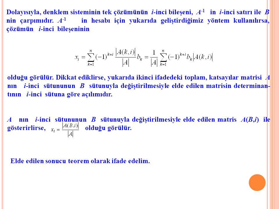 Dolayısıyla, denklem sisteminin tek çözümünün i-inci bileşeni, A -1 in i-inci satırı ile B nin çarpımıdır. A -1 in hesabı için yukarıda geliştirdiğimi