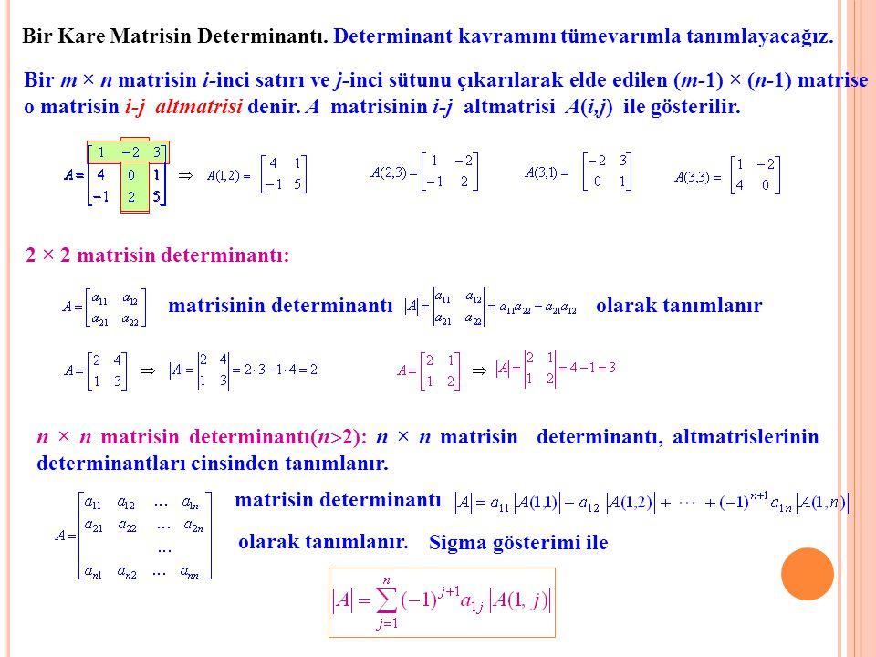 Bir Kare Matrisin Determinantı. Determinant kavramını tümevarımla tanımlayacağız. Bir m × n matrisin i-inci satırı ve j-inci sütunu çıkarılarak elde e