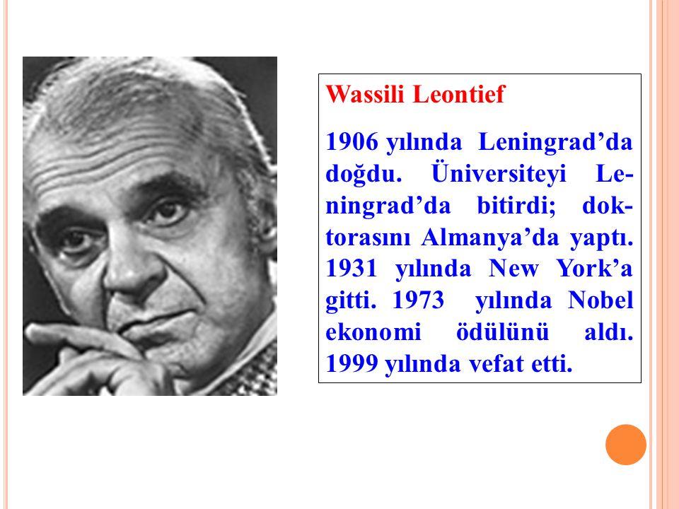 Wassili Leontief 1906 yılında Leningrad'da doğdu. Üniversiteyi Le- ningrad'da bitirdi; dok- torasını Almanya'da yaptı. 1931 yılında New York'a gitti.