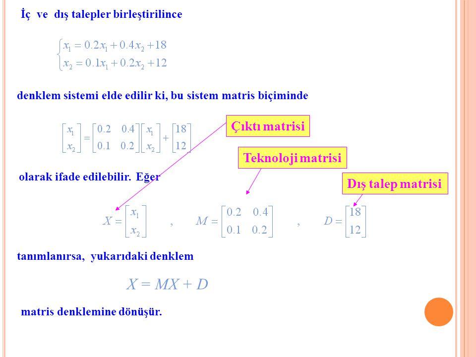 İç ve dış talepler birleştirilince denklem sistemi elde edilir ki, bu sistem matris biçiminde olarak ifade edilebilir.Eğer tanımlanırsa, yukarıdaki de
