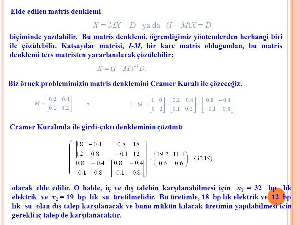 Elde edilen matris denklemi X = MX + D ya da (I - M)X = D Biz örnek problemimizin matris denklemini Cramer Kuralı ile çözeceğiz., Cramer Kuralında ile