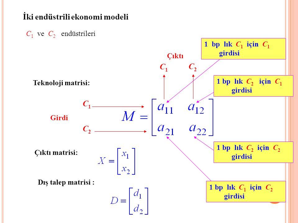 İki endüstrili ekonomi modeli C 1 ve C 2 endüstrileri Teknoloji matrisi: C2C2 C1C1 Girdi C1C1 C2C2 Çıktı 1 bp lık C 1 için C 1 girdisi 1 bp lık C 2 iç
