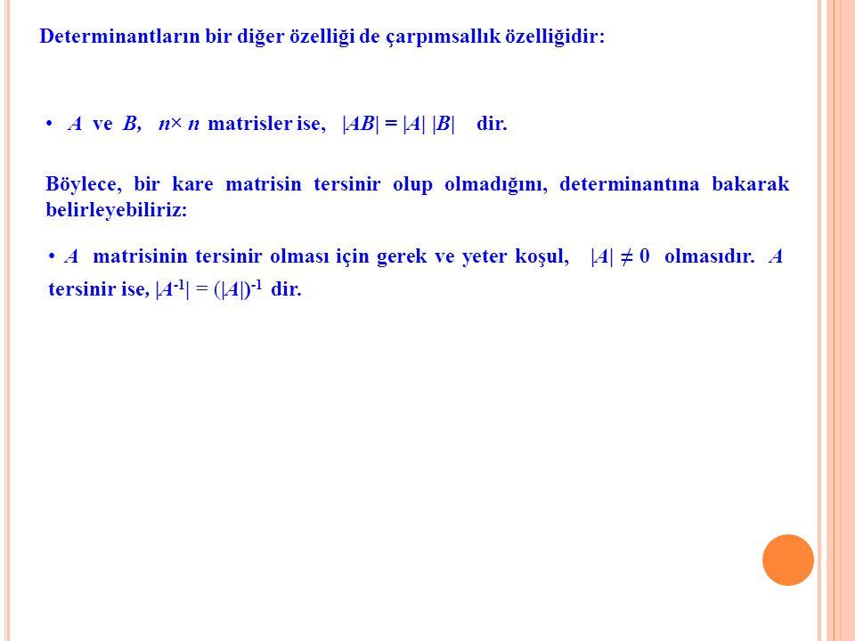Determinantların bir diğer özelliği de çarpımsallık özelliğidir: A ve B, n× n× n matrisler ise, |AB| = |A| |B| dir. Böylece, bir kare matrisin tersini