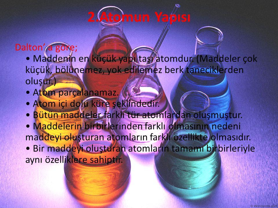 2.Atomun Yapısı Dalton' a göre; Maddenin en küçük yapı taşı atomdur. (Maddeler çok küçük, bölünemez, yok edilemez berk taneciklerden oluşur.) Atom par