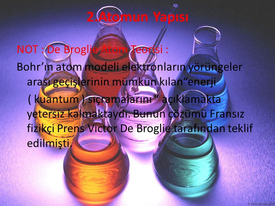 """2.Atomun Yapısı NOT : De Broglie Atom Teorisi : Bohr'ın atom modeli elektronların yörüngeler arası geçişlerinin mümkün kılan""""enerji ( kuantum ) sıçram"""