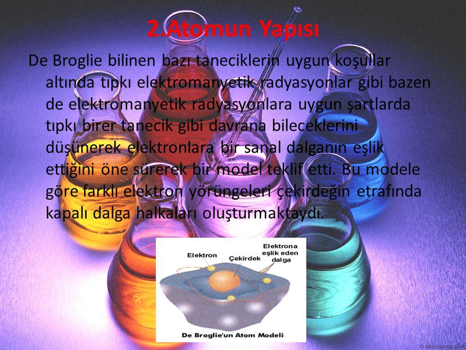 2.Atomun Yapısı De Broglie bilinen bazı taneciklerin uygun koşullar altında tıpkı elektromanyetik radyasyonlar gibi bazen de elektromanyetik radyasyon