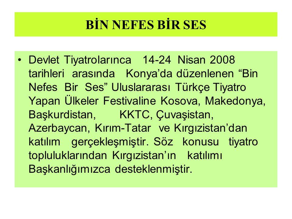 """BİN NEFES BİR SES Devlet Tiyatrolarınca 14-24 Nisan 2008 tarihleri arasında Konya'da düzenlenen """"Bin Nefes Bir Ses"""" Uluslararası Türkçe Tiyatro Yapan"""