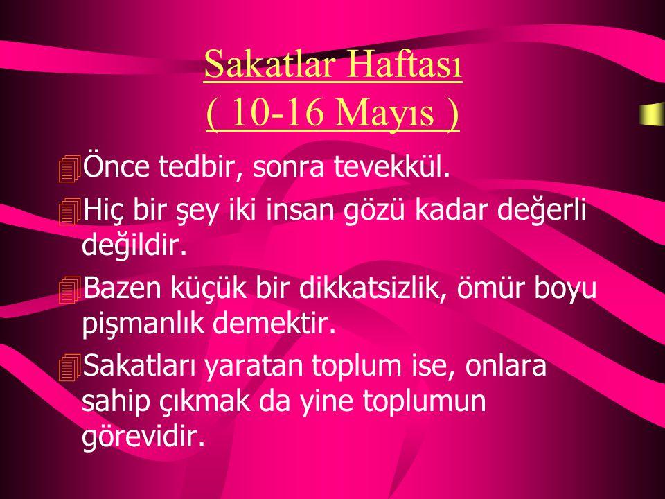 Anneler Günü ( Mayıs ayının ikinci Pazar günü) 4Ağlarsa anam ağlar gerisi yalan ağlar. 4Ana başta taç gönülde ilaçtır. 4En vefakar anne Türk kadınıdır