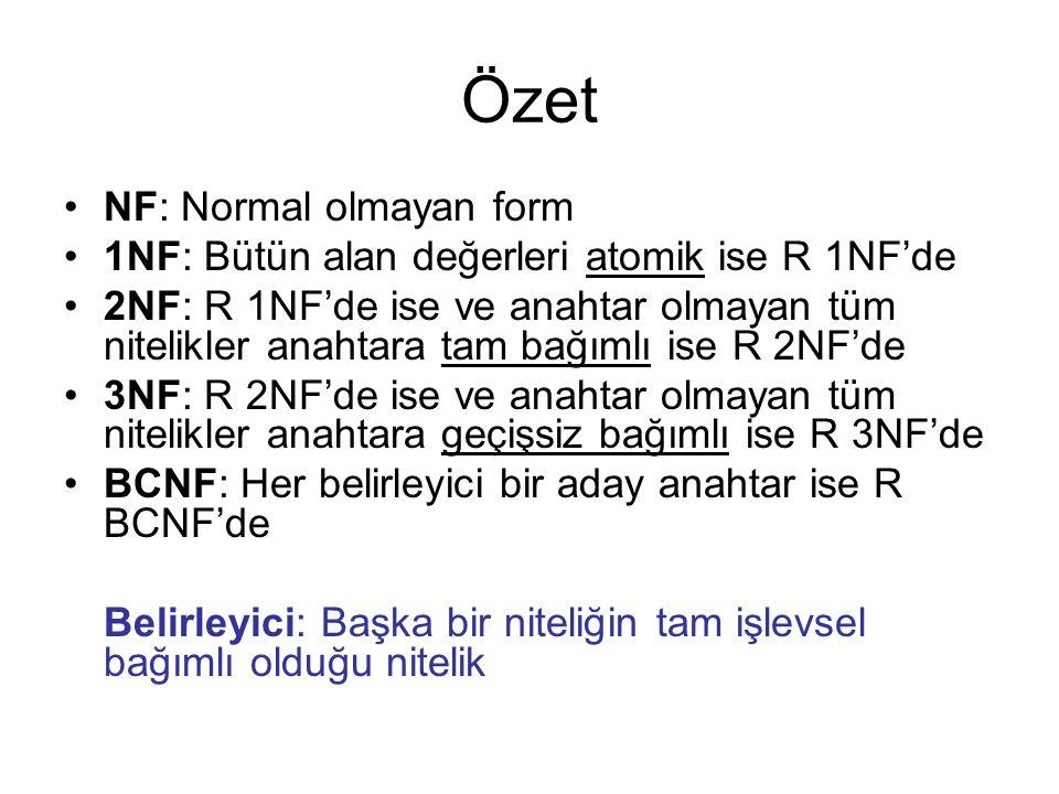 NF: Normal olmayan form 1NF: Bütün alan değerleri atomik ise R 1NF'de 2NF: R 1NF'de ise ve anahtar olmayan tüm nitelikler anahtara tam bağımlı ise R 2