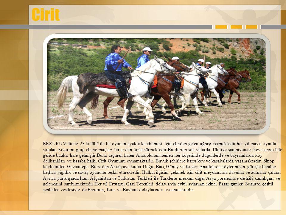 Cirit ERZURUM ilimiz 23 kulübü ile bu oyunun ayakta kalabilmesi için elinden gelen uğraşı vermektedir.her yıl mayıs ayında yapılan Erzurum grup eleme maçları bir aydan fazla sürmektedir.Bu durum son yıllarda Türkiye şampiyonası heyecanını bile geride bırakır hale gelmiştir.Buna rağmen halen Anadolunun hemen her köşesinde düğünlerde ve bayramlarda köy delikanlıları ve kasaba halkı Cirit Oyununu oynamaktadır.