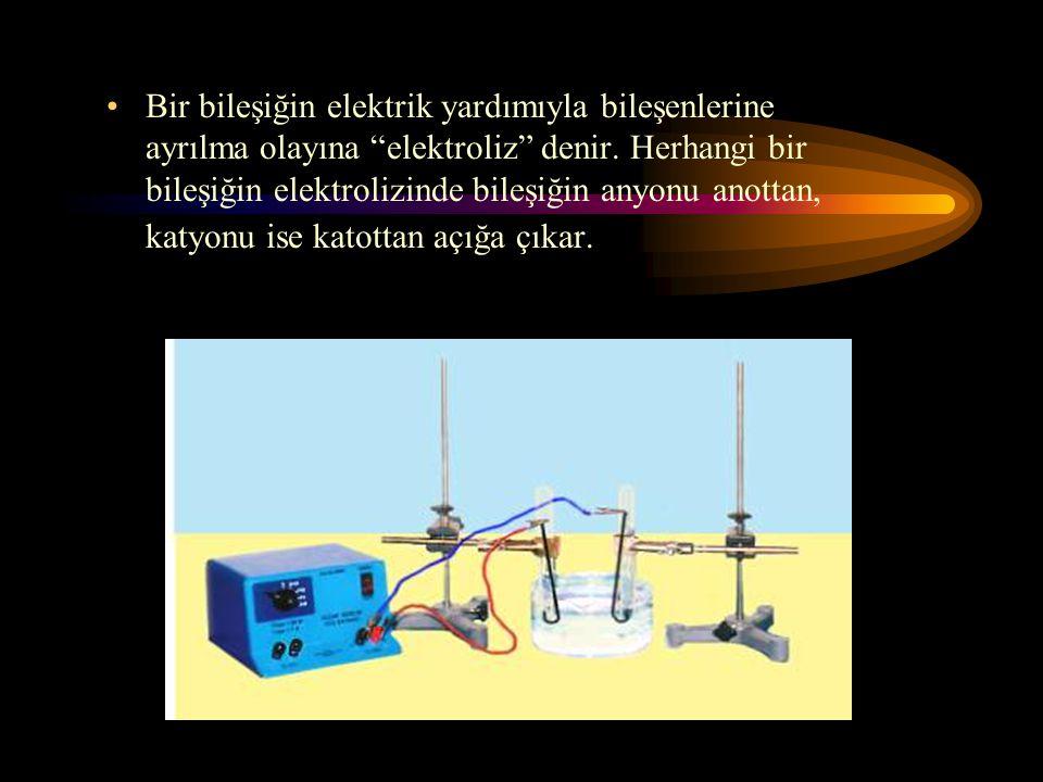 Bir bileşiğin elektrik yardımıyla bileşenlerine ayrılma olayına elektroliz denir.