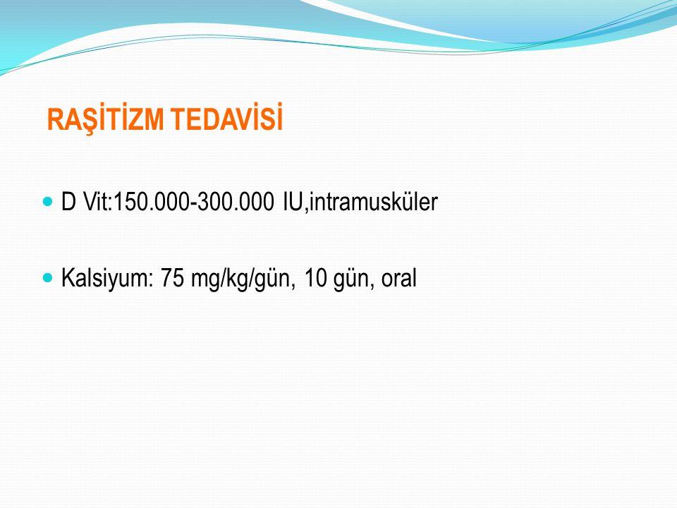 RAŞİTİZM TEDAVİSİ D Vit:150.000-300.000 IU,intramusküler Kalsiyum: 75 mg/kg/gün, 10 gün, oral